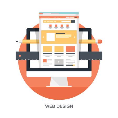 웹 디자인 및 개발 개념의 추상적 인 평면 벡터 일러스트 레이 션. 모바일 및 웹 애플리케이션을위한 요소. 일러스트