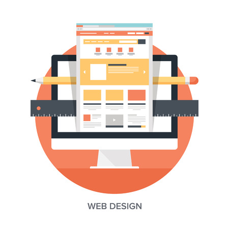 vector web design elements: Abstract flat vector illustration of web design and development concepts. Elements for mobile and web applications.