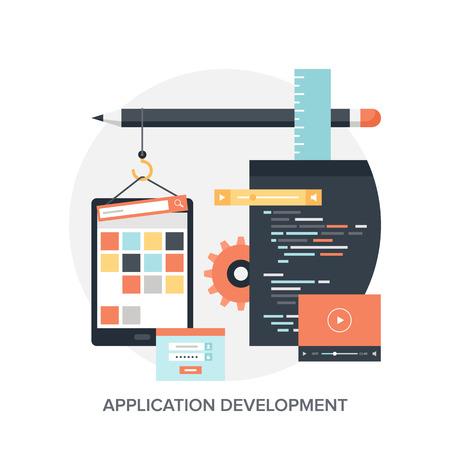 gestion empresarial: Resumen ilustraci�n vectorial plano de los conceptos de desarrollo de aplicaciones. Los elementos de dise�o para aplicaciones m�viles y web.