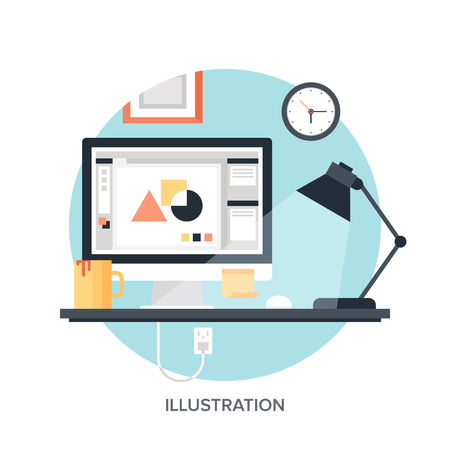 Abstract flat vector image of illustration drawing process.