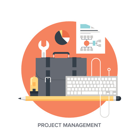 プロジェクト管理平らな設計コンセプトのベクトル イラスト。