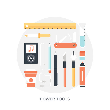 design tools: Abstract flat vector illustration of design and development tools. Elements for mobile and web applications.