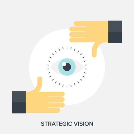 vision concept: Abstract flat vector illustration of strategic vision concepts.