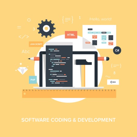 computer language: Abstract flat vector illustration of software coding and development concepts. Design elements for mobile and web applications. Illustration
