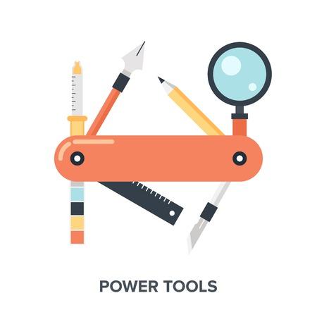 Resumen plana ilustración vectorial concepto de diseño y desarrollo de herramientas.