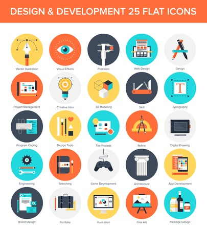 web development: Abstract vector set of colorful flat design and development icons. Design elements for mobile and web applications. Illustration