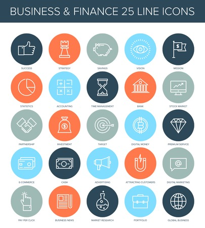 stock news: Vector set of simple thin line business and finance icons.