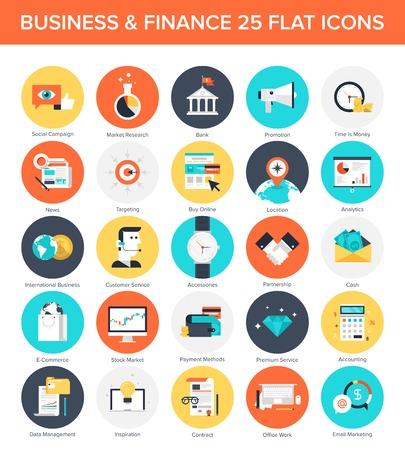 Abstract vector verzameling van kleurrijke platte zaken en financiën iconen. Design elementen voor mobiele en web applicaties.