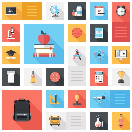 Abstract vector collection of colorful flat education and knowledge icons with long shadow. Design elements for mobile and web applications. Vector