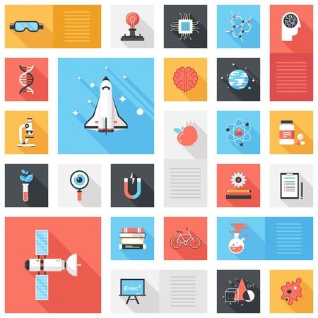 Colección de vectores de fondo de la ciencia y la tecnología plana colorido iconswith larga sombra. Elementos de diseño de aplicaciones móviles y web.