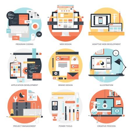 플랫: 설계 및 개발 개념의 추상적 인 평면 벡터 일러스트 레이 션. 모바일 및 웹 애플리케이션을위한 요소. 일러스트