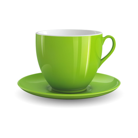 High detailed vector illustration of green cup isolated on white background 일러스트