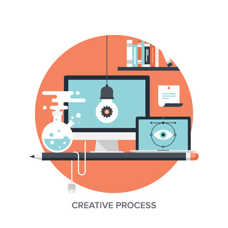 Abstract flat vector illustration of creative process concepts. Elements for mobile and web applications. Vector