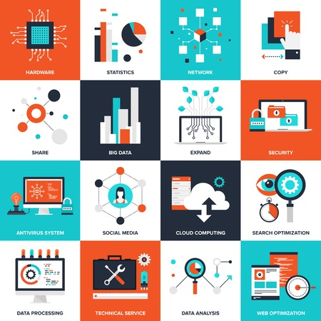 Abstract flat vector illustration of technology concepts. Elements for mobile and web applications. Vettoriali