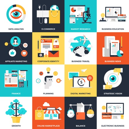 Abstract flat vector illustration of business and finance concepts. Elements for mobile and web applications.