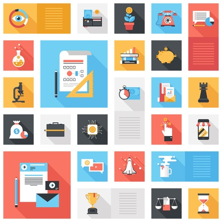 long: Abstract vector collection of colorful flat business and finance icons with long shadow. Design elements for mobile and web applications.