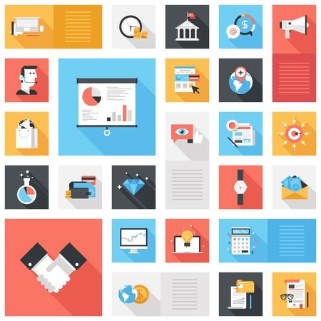Abstract vector collectie van kleurrijke platte zakelijke en financiële pictogrammen met lange schaduw. Design elementen voor mobiele en web applicaties.