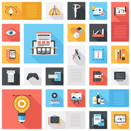 web elements: Abstract vector set of colorful flat design and development icons with long shadow. Design elements for mobile and web applications. Illustration
