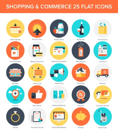 electronic commerce: Abstract vector collection of colorful flat shopping icons. Design elements for mobile and web applications.
