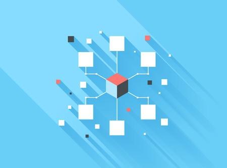 長い影と青色の背景に分離されたコンピューター ネットワークのベクトル図の概念。