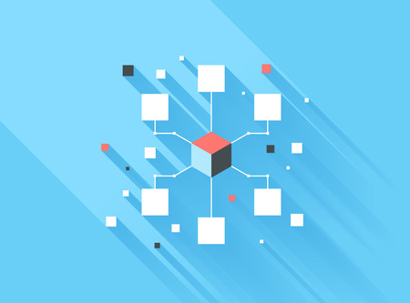 Vector illustration concept of computer network isolated on blue background with long shadow. Vector