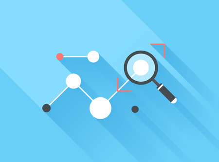 Vector illustration concept of data analysis isolated on blue background with long shadow.