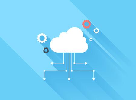 Vector illustratie concept van cloud computing geïsoleerd op een blauwe achtergrond met lange schaduw.