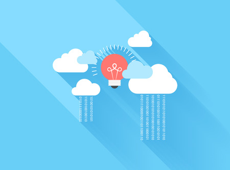 big: Vector illustration concept of cloud computing isolated on blue background with long shadow.
