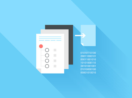 data link: Vector illustration concept of data sharing and copying isolated on blue background with long shadow.