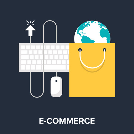 Abstract flat vector illustration of e-commerce concept. Elements for mobile and web applications. Vector