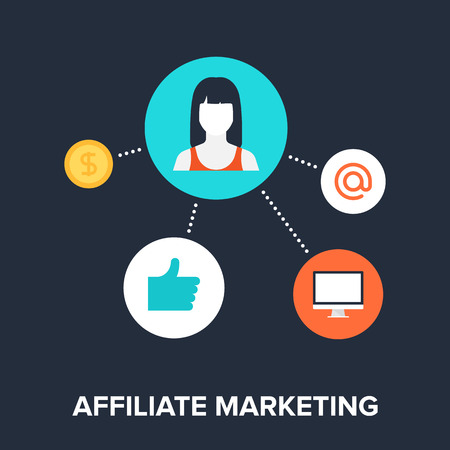 Abstract flat vector illustration of affiliate marketing concept. Elements for mobile and web applications. Vector Illustration