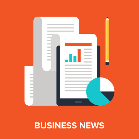 Abstract flat vector illustration of business news concept. Elements for mobile and web applications. Vector