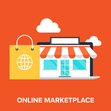 Abstract flat vector illustration of online marketplace concept. Elements for mobile and web applications.