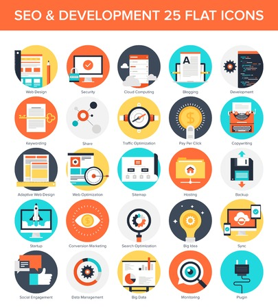 web hosting: Abstract vector set of colorful flat SEO and development icons. Creative concepts and design elements for mobile and web applications.