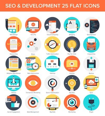 seguro social: Resumen vector conjunto de coloridos SEO y desarrollo iconos planos. Conceptos creativos y elementos de dise�o para aplicaciones m�viles y web. Vectores