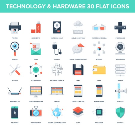 Abstract vector set of colorful flat technology and hardware icons. Creative concepts and design elements for mobile and web applications. Vector