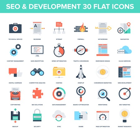 website traffic: Abstract vector set of colorful flat SEO and development icons. Creative concepts and design elements for mobile and web applications.