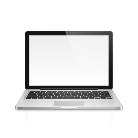 High detailed realistic vector illustration of modern laptop with blank screen on white background. Illustration