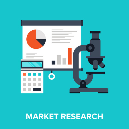 Abstract flat vector illustration of market research concept. Elements for mobile and web applications. Vector