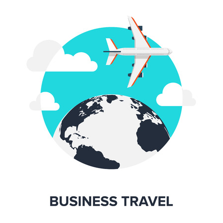 Abstract flat vector illustration of business travel concept. Elements for mobile and web applications. Vector