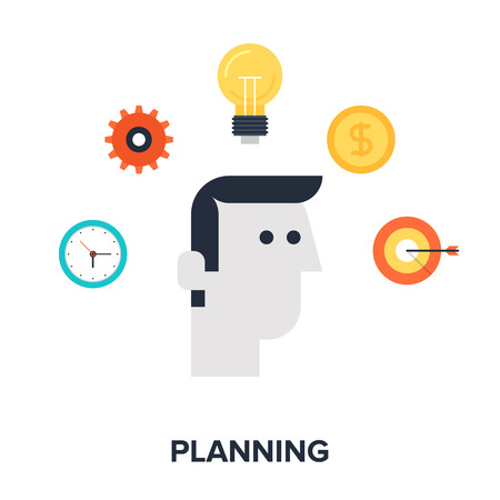 Abstract flat vector illustration of strategic planning concept. Elements for mobile and web applications. Vector