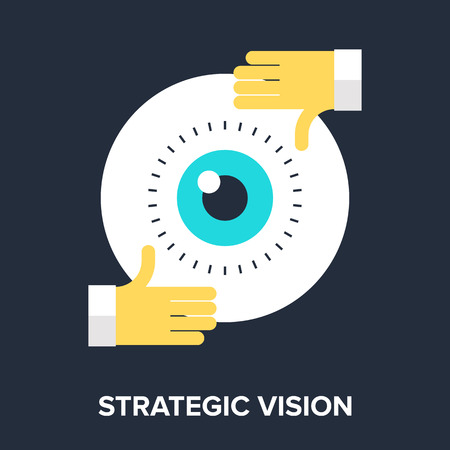 Abstract flat vector illustration of strategic vision concepts. Vector