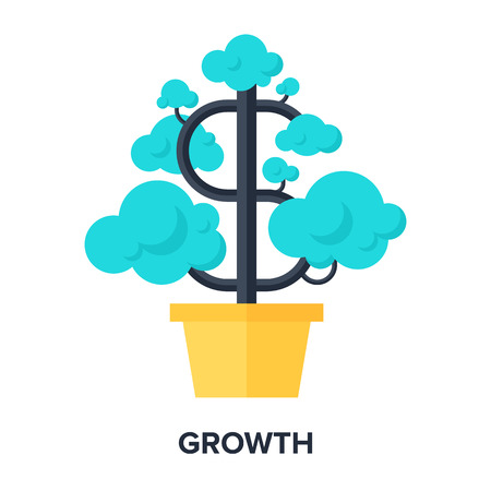 Abstract flat vector illustration of growth concept. Elements for mobile and web applications. Vector