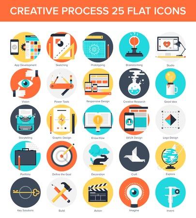 Abstract vector set van kleurrijke platte creatieve proces iconen. Concepten en design elementen voor mobiele en web applicaties. Stock Illustratie