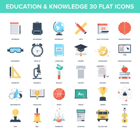 investigando: Conjunto de vectores de fondo de coloridos iconos de la educaci�n y el conocimiento planas. Conceptos creativos y elementos de dise�o para aplicaciones m�viles y web.