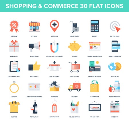 Abstract vector set of colorful flat shopping and commerce icons. Creative concepts and design elements for mobile and web applications. Illustration