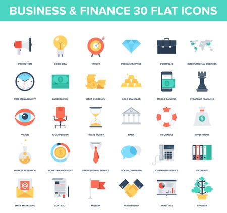 Resumen vector conjunto de iconos de colores de negocios y finanzas planas. Conceptos creativos y elementos de diseño para aplicaciones móviles y web.