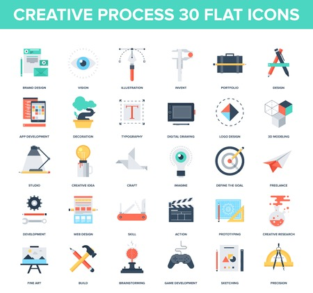 studio: Abstract vector set of colorful flat creative process icons. Concepts and design elements for mobile and web applications.