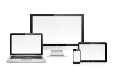 electronic devices: Realistic high detailed vector illustration of electronic devices isolated on white background Illustration
