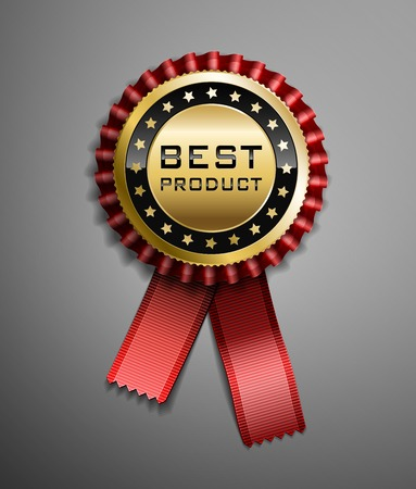 award ribbon rosette: High detailed vector award ribbon isolated on dark gray background. Illustration